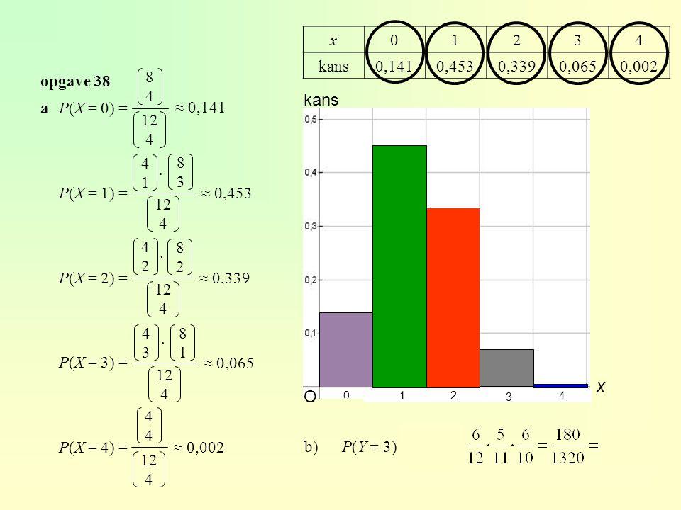 opgave 38 aP(X = 0) = P(X = 1) = P(X = 2) = P(X = 3) = P(X = 4) = 8484 12 4 4141 12 4 4242 12 4 4343 12 4 4444 12 4 8383 8282 8181 ≈ 0,141 ≈ 0,453 ≈ 0