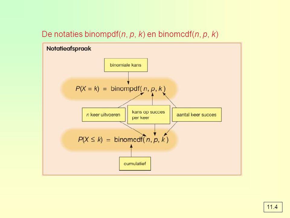 De notaties binompdf(n, p, k) en binomcdf(n, p, k) 11.4