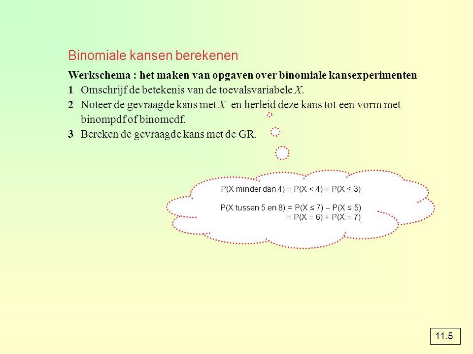 Binomiale kansen berekenen Werkschema : het maken van opgaven over binomiale kansexperimenten 1Omschrijf de betekenis van de toevalsvariabele X. 2Note