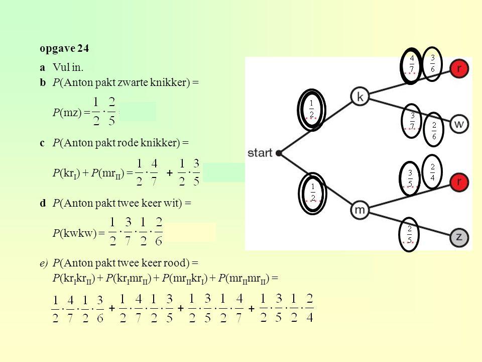 opgave 24 aVul in. bP(Anton pakt zwarte knikker) = P(mz) = = 0,2 cP(Anton pakt rode knikker) = P(kr I ) + P(mr II ) = ≈ 0,586 dP(Anton pakt twee keer