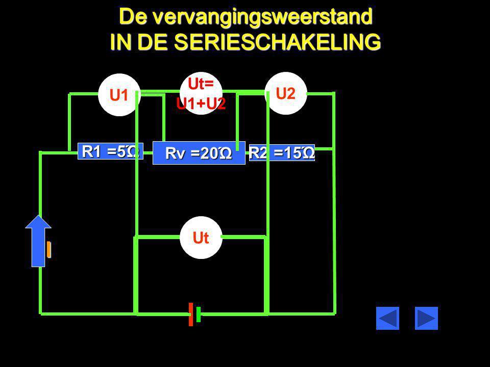 De vervangingsweerstand I =5Ώ =10Ώ =4A U1=IxR1U1=4x5=20VU1=IxR2U1=4x10=40V Ut=U1+U2 Ut=20+40=60V De totale weerstand Rv in de Stroom keten is R1+R2=Rv