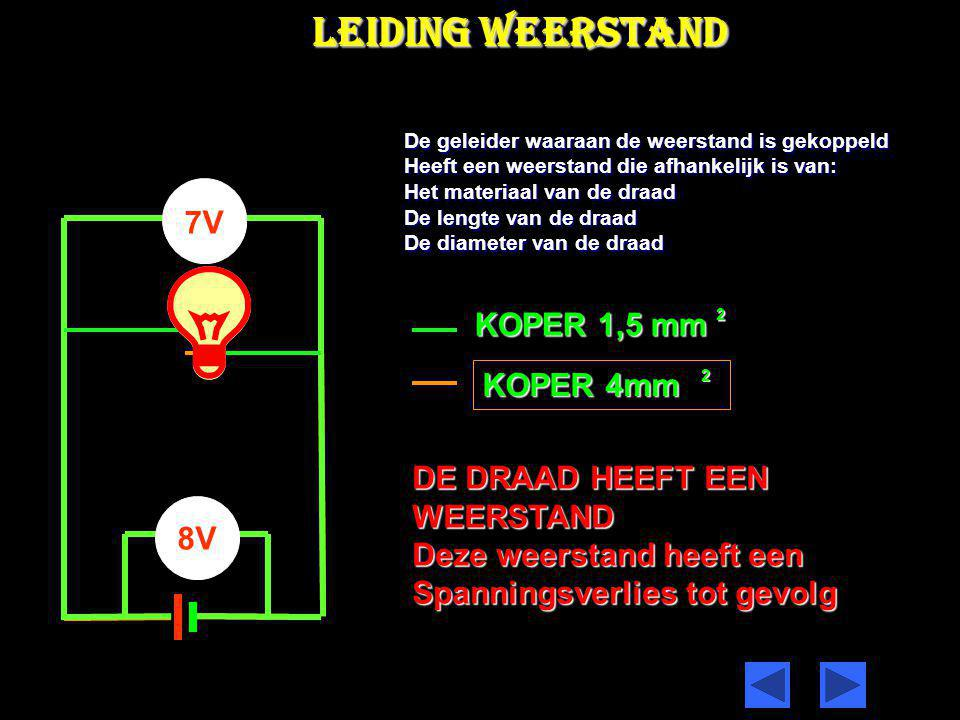 BEREKENEN VAN DE weerstand RV,R2,u1 & U2 =5Ώ =?Ώ I =4A De totale SPANNING Ut in de Stroom keten is 60Volt De vervangingsweerstand is Rv = U / I Rv = 60/ 4 =15 Ώ 60V Rv = R1 + R2 R2 = Rv – R1 R2 = 15 – 5 R2 = 10Ώ U1 = I x R1 U1 = 4 x 5 U1 = 20 Volt U2 = I x R2 U2 = 4 x 10 U2 = 40 Volt Ut = U1 + U2 = 20 + 40= 60 Volt