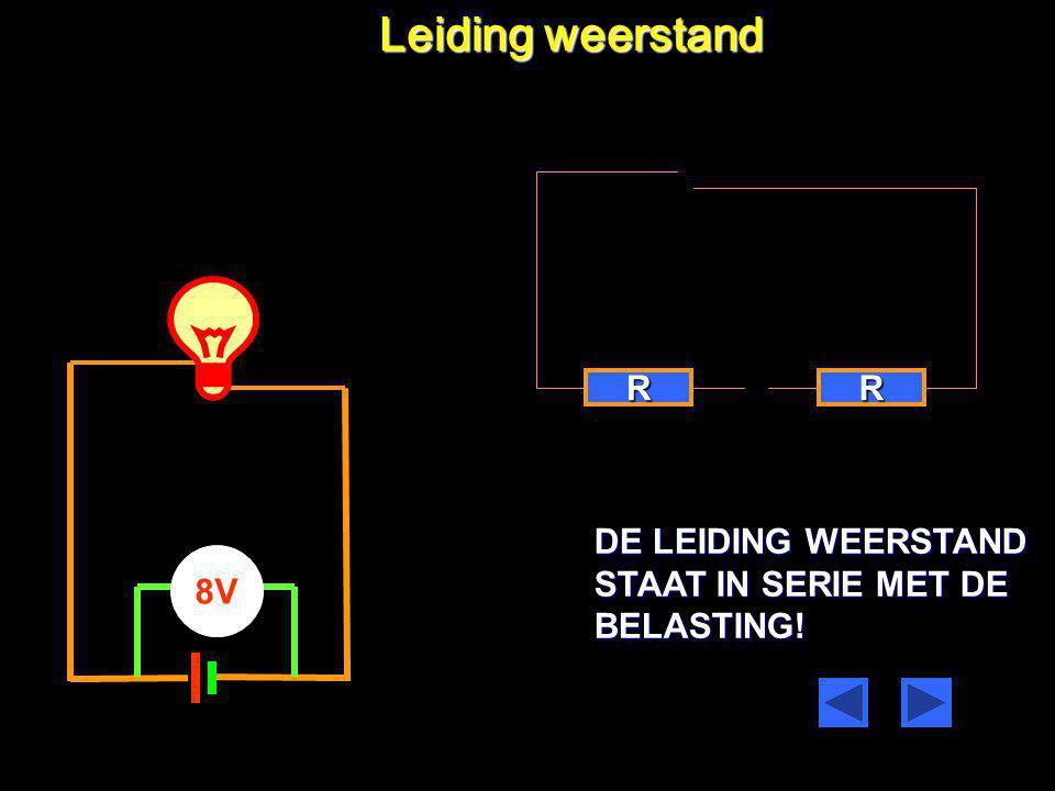 Leiding weerstand 6V 8V De geleider waaraan de weerstand is gekoppeld Heeft een weerstand die afhankelijk is van: Het materiaal van de draad De lengte