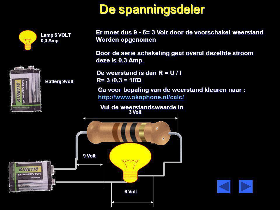 75 watt I=3A U=24 Volt R= U I = 24 3 = 8 Ώ SERIE SCHAKELING VAN LAMPEN U=240 Volt Berekening van 1 lamp op 24 volt aangesloten Rv = 10 x 8 = 80 Ώ De s