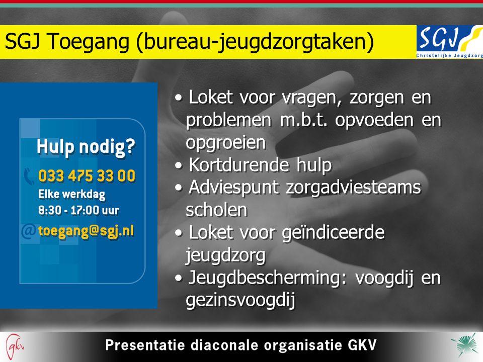 SGJ Toegang (bureau-jeugdzorgtaken) Loket voor vragen, zorgen en problemen m.b.t.