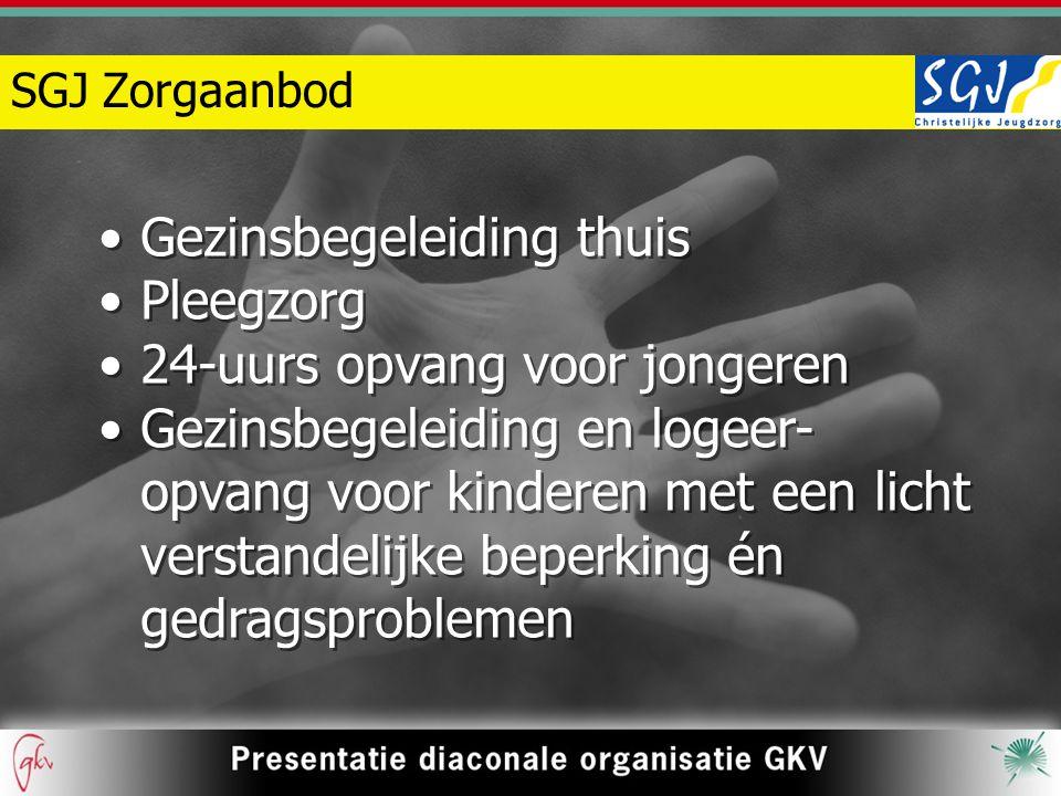 SGJ Zorgaanbod Gezinsbegeleiding thuis Pleegzorg 24-uurs opvang voor jongeren Gezinsbegeleiding en logeer- opvang voor kinderen met een licht verstand