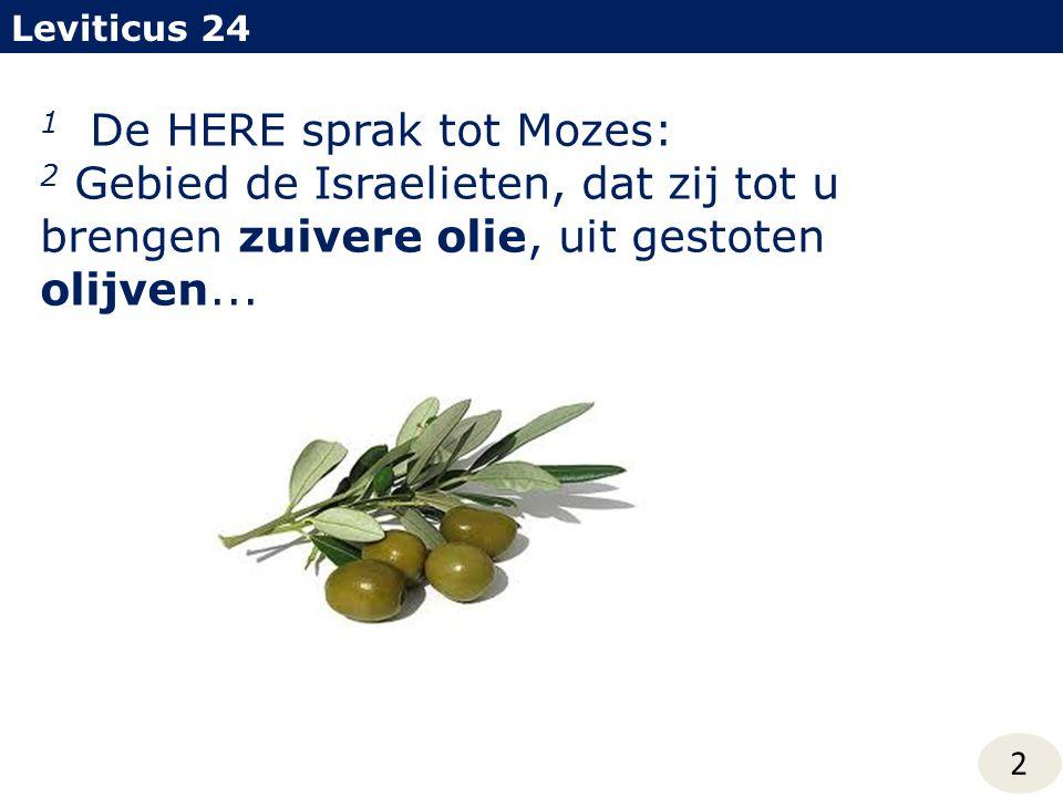 1 De HERE sprak tot Mozes: 2 Gebied de Israelieten, dat zij tot u brengen zuivere olie, uit gestoten olijven... Leviticus 24 2