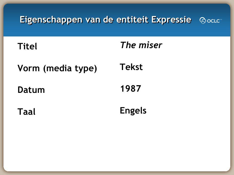 Eigenschappen van de entiteit Expressie Titel Vorm (media type) Datum Taal The miser Tekst 1987 Engels