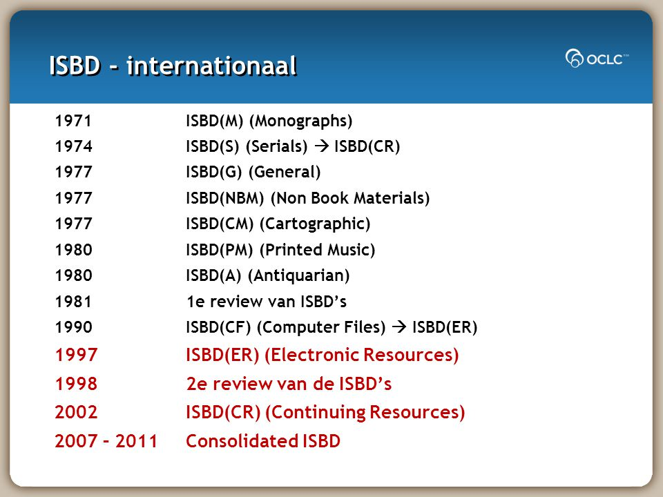 ISBD - internationaal 1971 ISBD(M) (Monographs) 1974 ISBD(S) (Serials)  ISBD(CR) 1977 ISBD(G) (General) 1977 ISBD(NBM) (Non Book Materials) 1977 ISBD