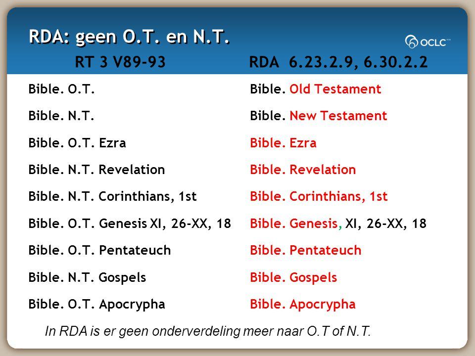 RDA: geen O.T. en N.T. RT 3 V89-93 Bible. O.T. Bible.