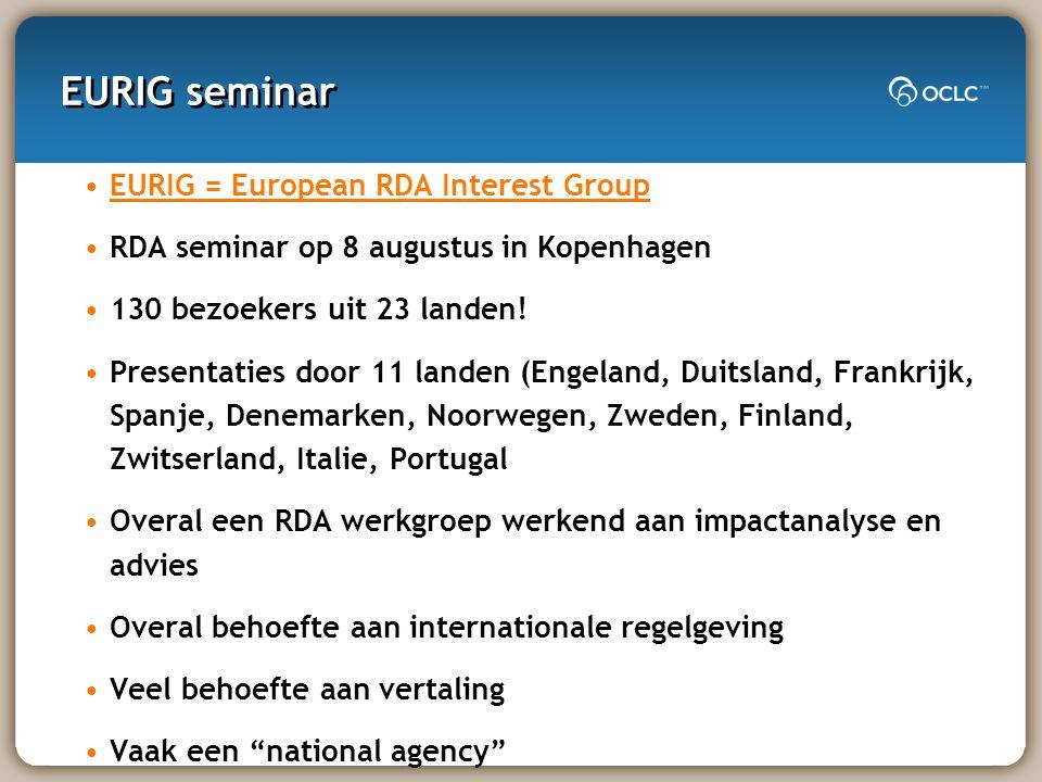 EURIG seminar EURIG = European RDA Interest Group RDA seminar op 8 augustus in Kopenhagen 130 bezoekers uit 23 landen.