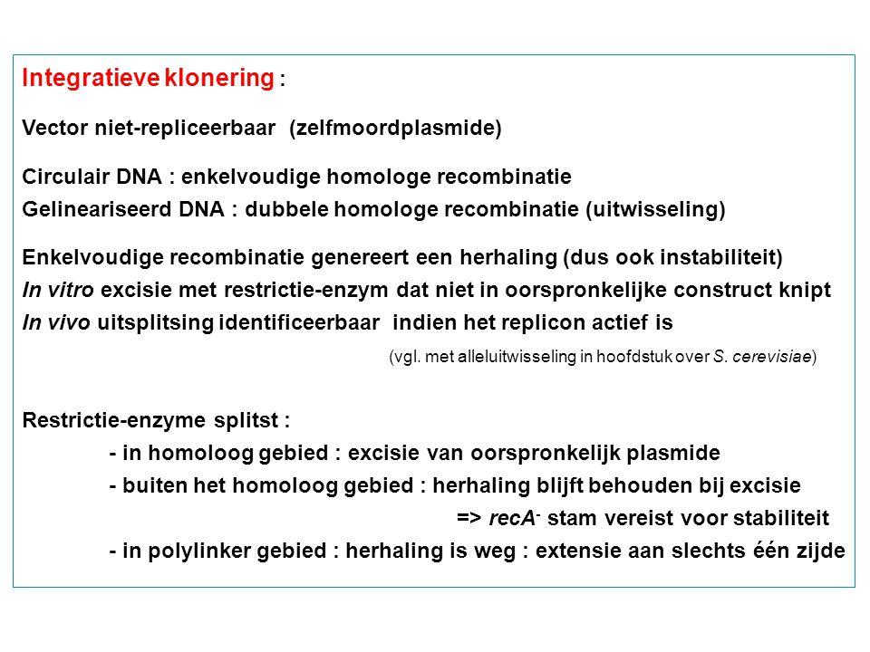 Integratieve klonering : Vector niet-repliceerbaar (zelfmoordplasmide) Circulair DNA : enkelvoudige homologe recombinatie Gelineariseerd DNA : dubbele