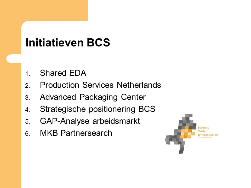 Initiatieven BCS 1. Shared EDA 2. Production Services Netherlands 3.