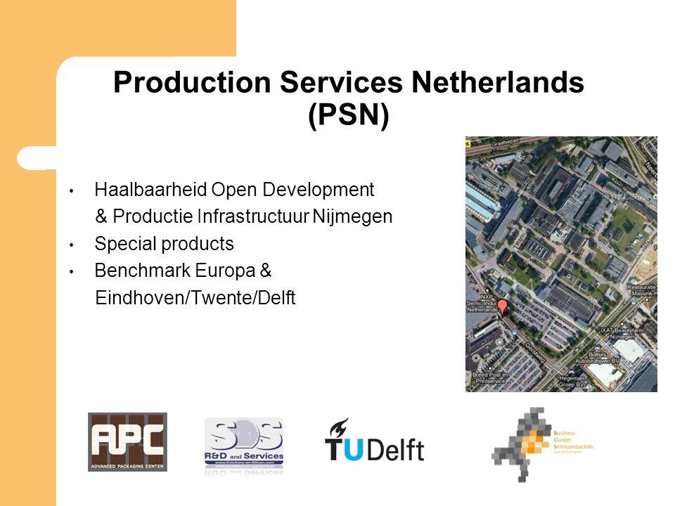 Production Services Netherlands (PSN) Haalbaarheid Open Development & Productie Infrastructuur Nijmegen Special products Benchmark Europa & Eindhoven/Twente/Delft
