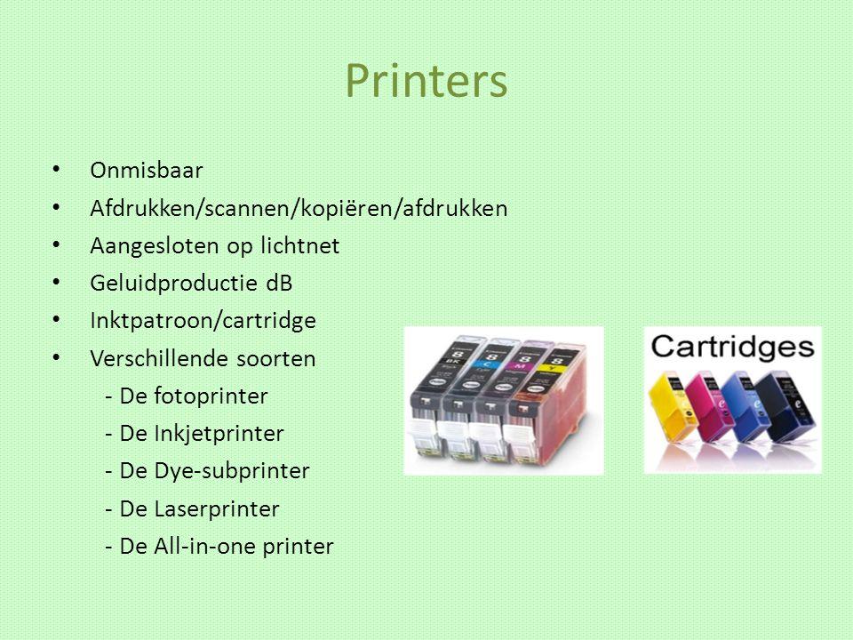 Printers Onmisbaar Afdrukken/scannen/kopiëren/afdrukken Aangesloten op lichtnet Geluidproductie dB Inktpatroon/cartridge Verschillende soorten - De fo