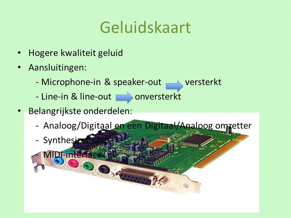 A/D & D/A omzetting Digitaal geluid: omgezet naar binaire code Analoog geluid: verdichtingen en verdunningen in de lucht Geluid opslaan/opnemen A/D omzetter nodig - legt 44.100 keer per seconde een stukje geluid vast - Dit wordt ook wel sampling genoemd Geluid afspelen D/A omzetter nodig Duurste onderdelen van een geluidskaart