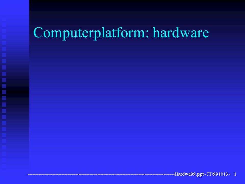 ----------------------------------------------------------------------------------------------Hardwa99.ppt - JT/991013 -22 Invoerapparatuur n optische scanner u handscanners (105mm) u flatbed-scanners (A4) F hogere resolutie F betrouwbaarder u ontleding in beeldpunten (pixels)