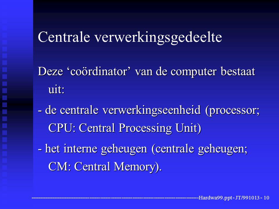 ----------------------------------------------------------------------------------------------Hardwa99.ppt - JT/991013 -10 Centrale verwerkingsgedeelte Deze 'coördinator' van de computer bestaat uit: - de centrale verwerkingseenheid (processor; CPU: Central Processing Unit) - het interne geheugen (centrale geheugen; CM: Central Memory).