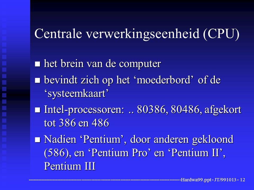 ----------------------------------------------------------------------------------------------Hardwa99.ppt - JT/991013 -12 Centrale verwerkingseenheid (CPU) n het brein van de computer n bevindt zich op het 'moederbord' of de 'systeemkaart' n Intel-processoren:..
