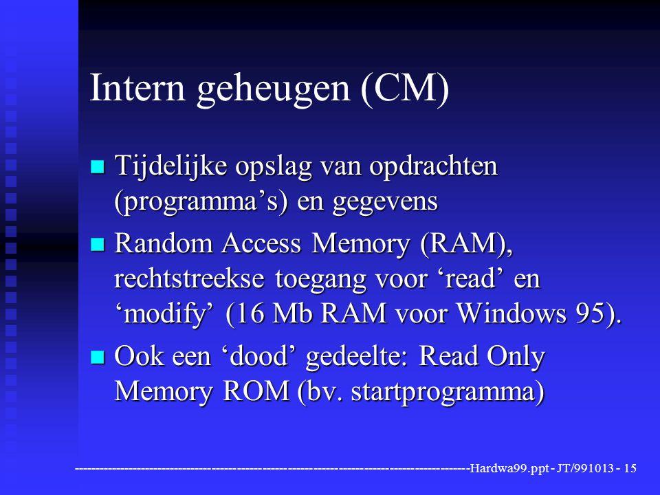 ----------------------------------------------------------------------------------------------Hardwa99.ppt - JT/991013 -15 Intern geheugen (CM) n Tijdelijke opslag van opdrachten (programma's) en gegevens n Random Access Memory (RAM), rechtstreekse toegang voor 'read' en 'modify' (16 Mb RAM voor Windows 95).