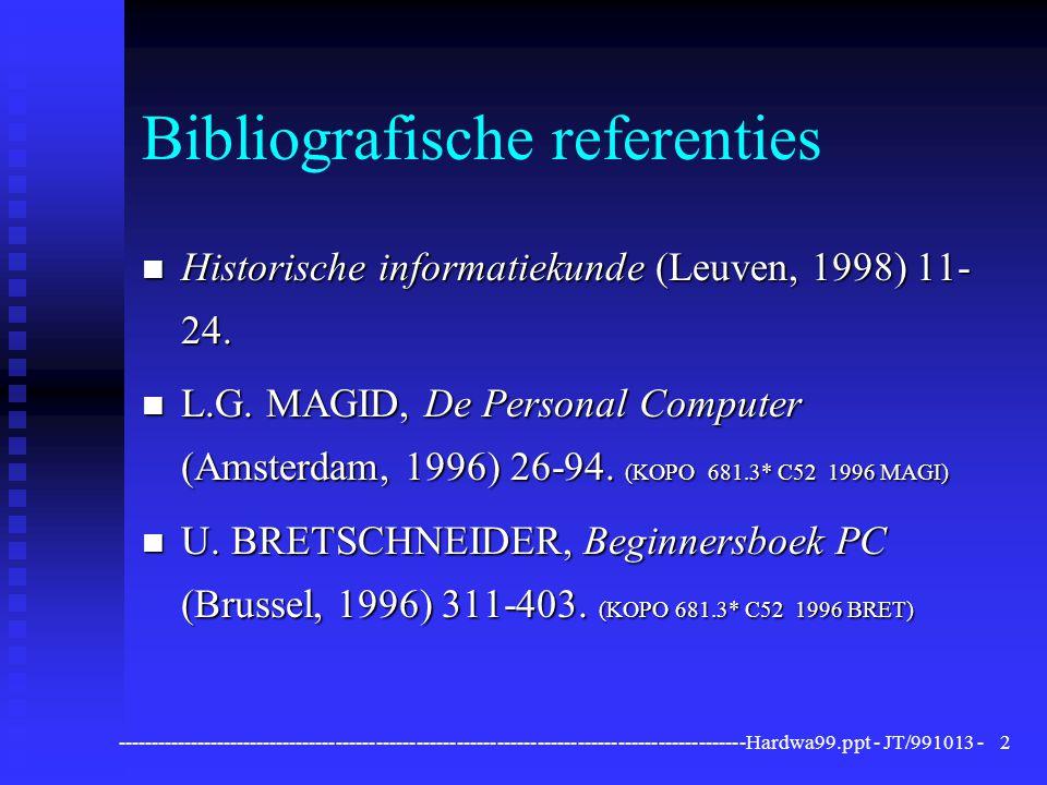 ----------------------------------------------------------------------------------------------Hardwa99.ppt - JT/991013 -3 De computer: definitie n Elektronisch werkend apparaat n voor automatische gegevenswerking, n bestuurd door een programma (instructies), n dat in het eigen geheugen aanwezig is.