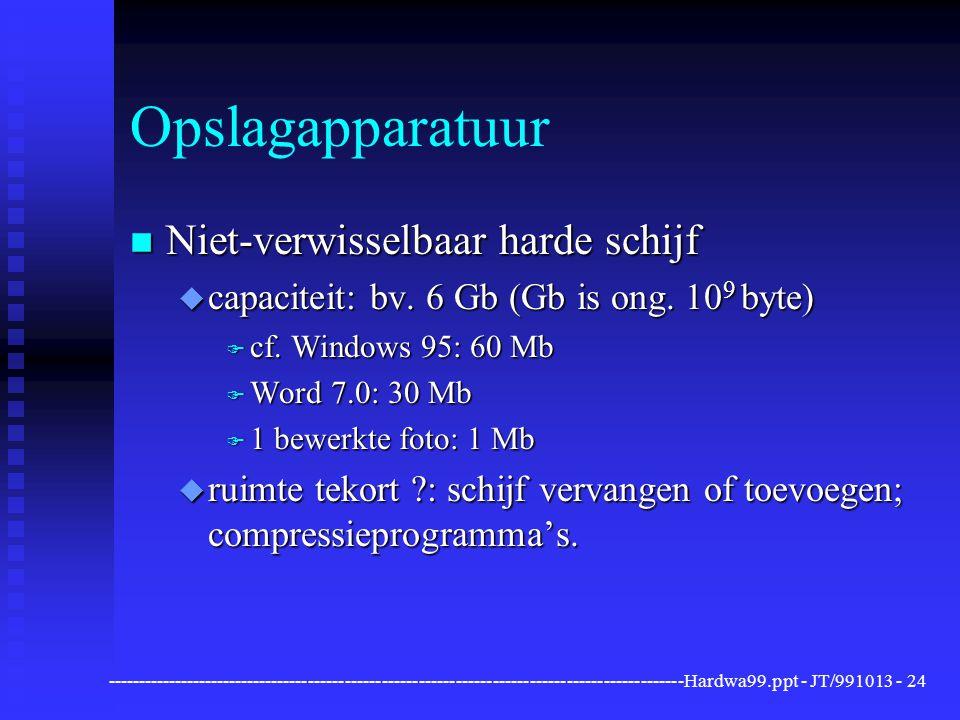 ----------------------------------------------------------------------------------------------Hardwa99.ppt - JT/991013 -24 Opslagapparatuur n Niet-verwisselbaar harde schijf u capaciteit: bv.