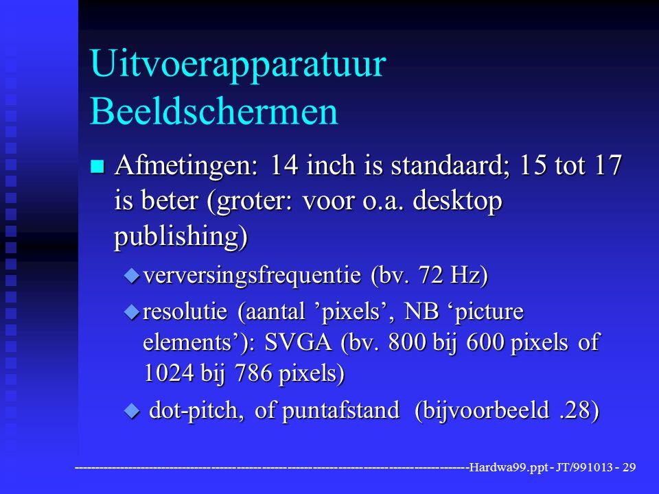 ----------------------------------------------------------------------------------------------Hardwa99.ppt - JT/991013 -29 Uitvoerapparatuur Beeldschermen n Afmetingen: 14 inch is standaard; 15 tot 17 is beter (groter: voor o.a.