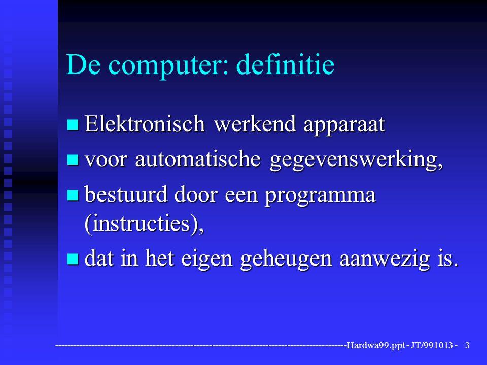 ----------------------------------------------------------------------------------------------Hardwa99.ppt - JT/991013 -34 Uitvoerapparatuur Printers Laserprinter Werking: laserstraal brengt informatie over op elektrisch geladen trommel; 'toner' kleeft eerst op trommel en wordt dan op papier gefixeerd.