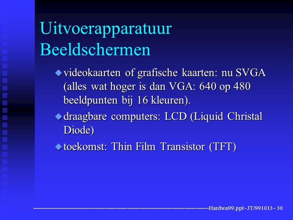 ----------------------------------------------------------------------------------------------Hardwa99.ppt - JT/991013 -30 Uitvoerapparatuur Beeldschermen u videokaarten of grafische kaarten: nu SVGA (alles wat hoger is dan VGA: 640 op 480 beeldpunten bij 16 kleuren).