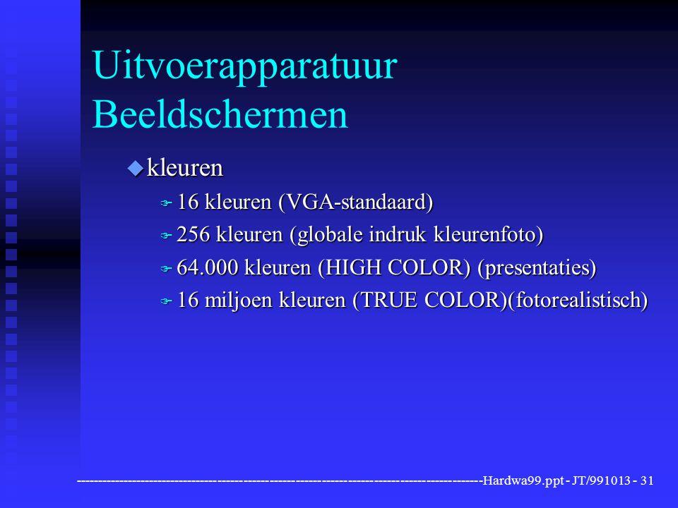 ----------------------------------------------------------------------------------------------Hardwa99.ppt - JT/991013 -31 Uitvoerapparatuur Beeldschermen u kleuren F 16 kleuren (VGA-standaard) F 256 kleuren (globale indruk kleurenfoto) F 64.000 kleuren (HIGH COLOR) (presentaties) F 16 miljoen kleuren (TRUE COLOR)(fotorealistisch)