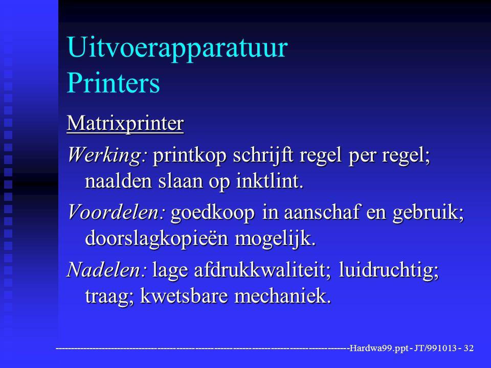 ----------------------------------------------------------------------------------------------Hardwa99.ppt - JT/991013 -32 Uitvoerapparatuur Printers Matrixprinter Werking: printkop schrijft regel per regel; naalden slaan op inktlint.
