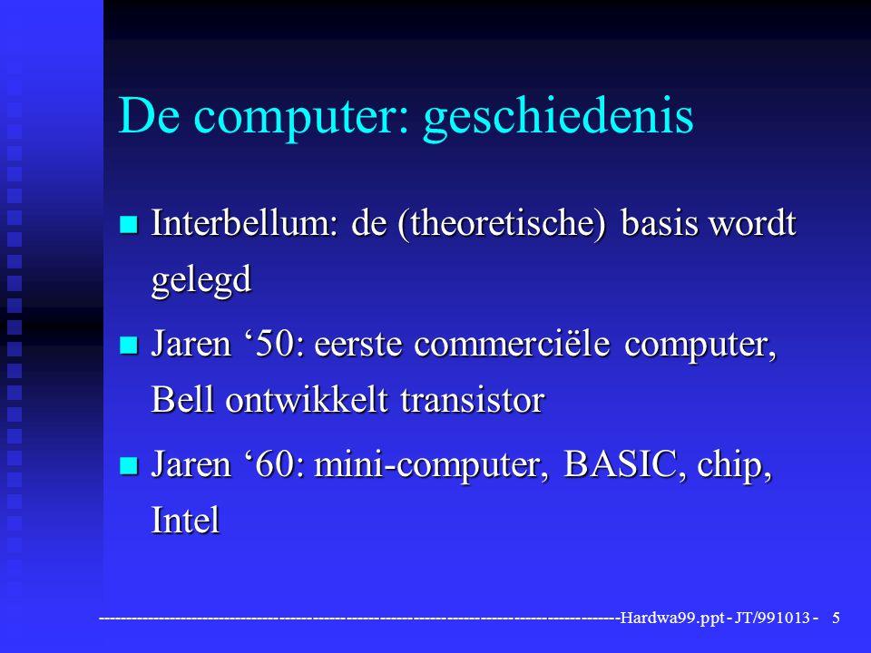 ----------------------------------------------------------------------------------------------Hardwa99.ppt - JT/991013 -36 Communicatie-apparatuur Modem n Voor datacommunicatie over een analoge (telefoon)lijn (modulator/demodulator) n Snelheid in bits per seconde (bps): 28.800 bps, en mits compressietechniek veel meer n Digitale ISDN-lijnen