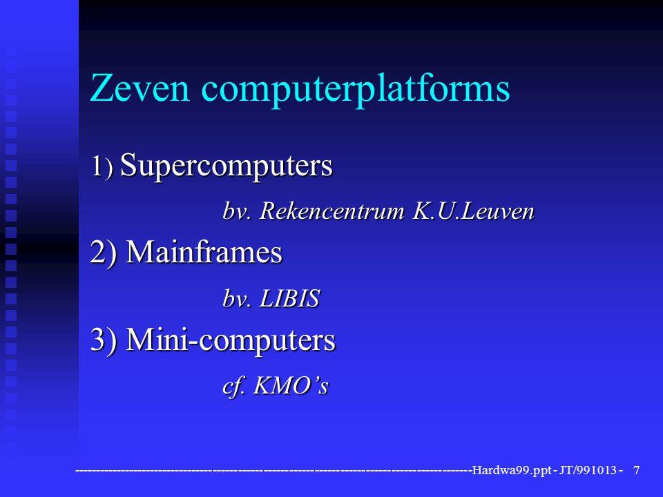 ----------------------------------------------------------------------------------------------Hardwa99.ppt - JT/991013 -8 Zeven computerplatforms 4) Werkstations (bv.