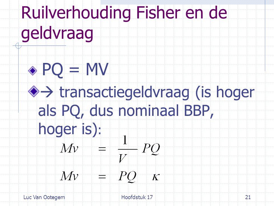 Luc Van OotegemHoofdstuk 1721 Ruilverhouding Fisher en de geldvraag PQ = MV  transactiegeldvraag (is hoger als PQ, dus nominaal BBP, hoger is) :