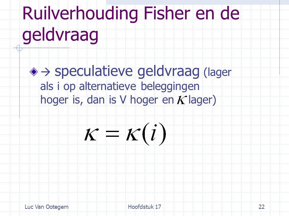 Luc Van OotegemHoofdstuk 1722 Ruilverhouding Fisher en de geldvraag  speculatieve geldvraag (lager als i op alternatieve beleggingen hoger is, dan is V hoger en lager)