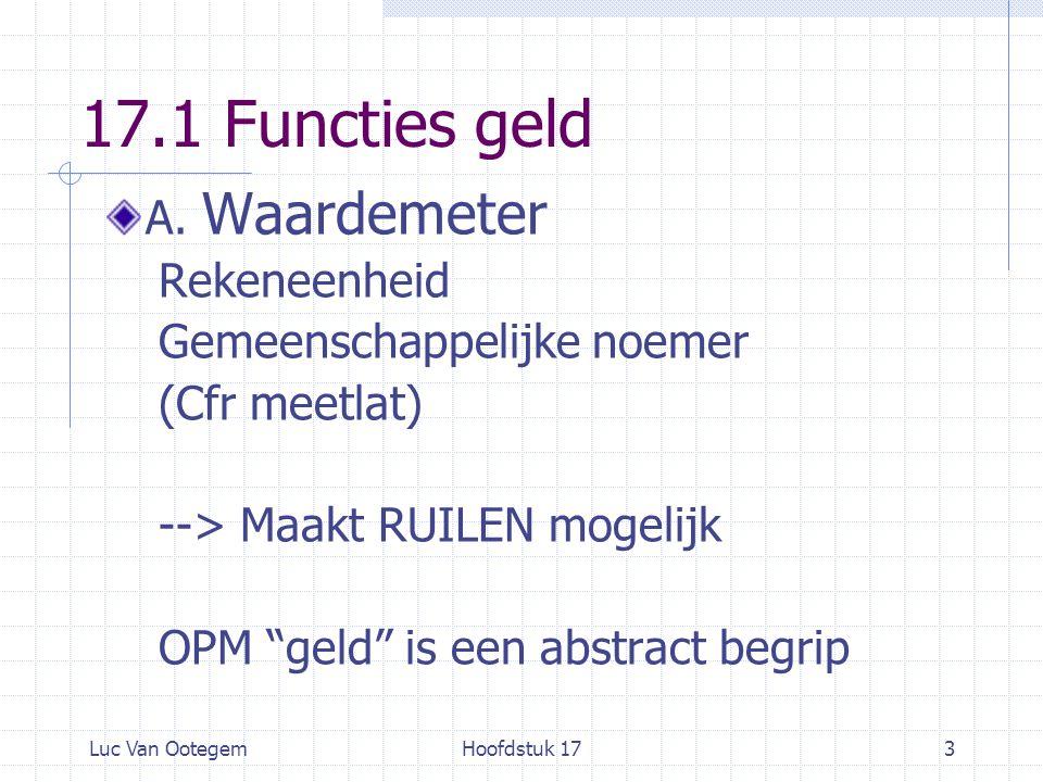 Luc Van OotegemHoofdstuk 173 17.1 Functies geld A.