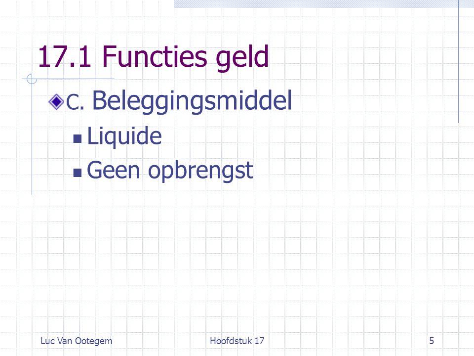 Luc Van OotegemHoofdstuk 175 17.1 Functies geld C. Beleggingsmiddel Liquide Geen opbrengst