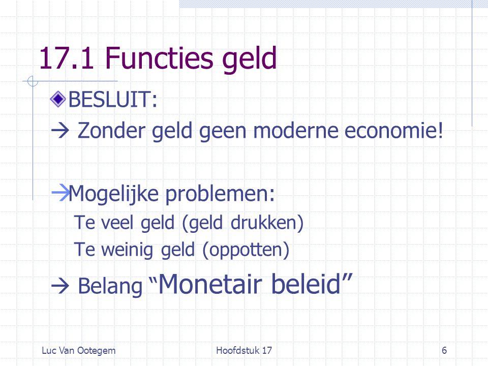 Luc Van OotegemHoofdstuk 176 17.1 Functies geld BESLUIT:  Zonder geld geen moderne economie.