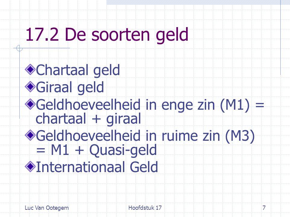 Luc Van OotegemHoofdstuk 177 17.2 De soorten geld Chartaal geld Giraal geld Geldhoeveelheid in enge zin (M1) = chartaal + giraal Geldhoeveelheid in ruime zin (M3) = M1 + Quasi-geld Internationaal Geld
