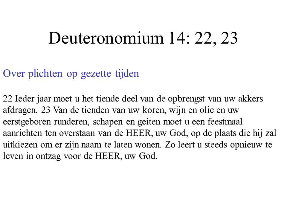Deuteronomium 14: 22, 23 Over plichten op gezette tijden 22 Ieder jaar moet u het tiende deel van de opbrengst van uw akkers afdragen. 23 Van de tiend