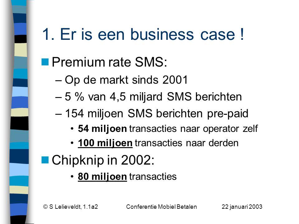 © S Lelieveldt, 1.1a2 Conferentie Mobiel Betalen 22 januari 2003 1.