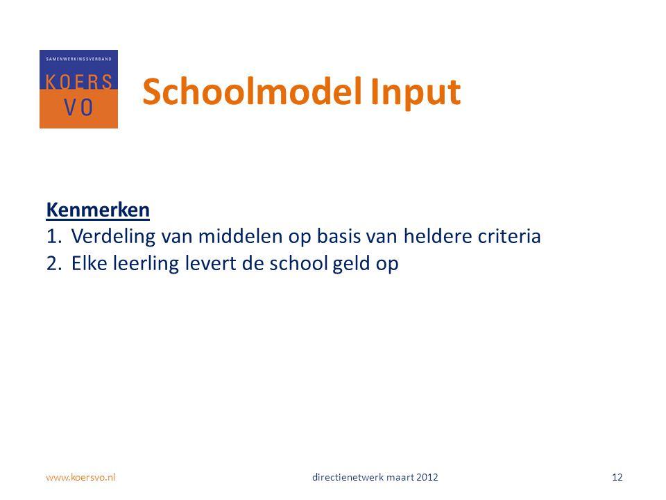 Schoolmodel Input Kenmerken 1.Verdeling van middelen op basis van heldere criteria 2.Elke leerling levert de school geld op www.koersvo.nldirectienetwerk maart 2012 12