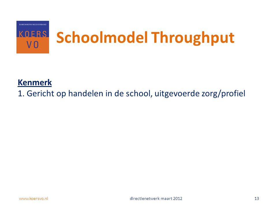 Schoolmodel Throughput Kenmerk 1. Gericht op handelen in de school, uitgevoerde zorg/profiel www.koersvo.nldirectienetwerk maart 2012 13