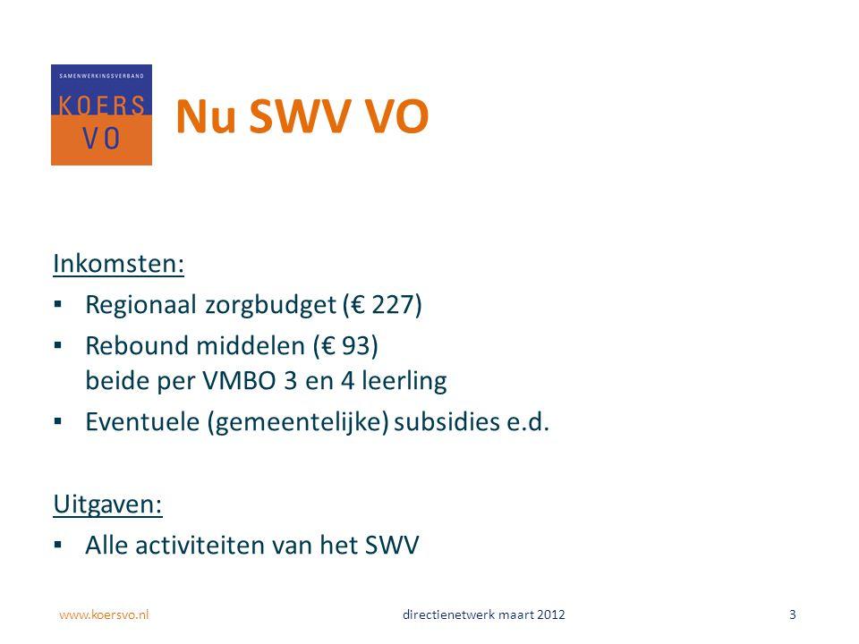 Nu SWV VO Inkomsten: ▪Regionaal zorgbudget (€ 227) ▪Rebound middelen (€ 93) beide per VMBO 3 en 4 leerling ▪Eventuele (gemeentelijke) subsidies e.d.