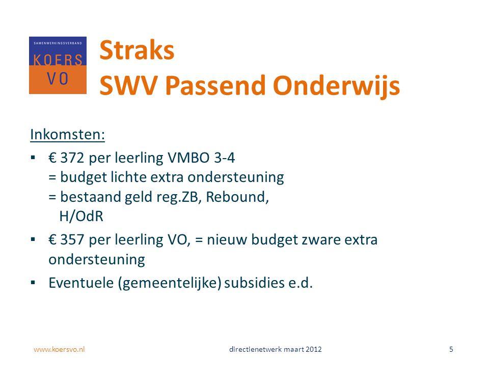 Inkomsten: ▪€ 372 per leerling VMBO 3-4 = budget lichte extra ondersteuning = bestaand geld reg.ZB, Rebound, H/OdR ▪€ 357 per leerling VO, = nieuw bud