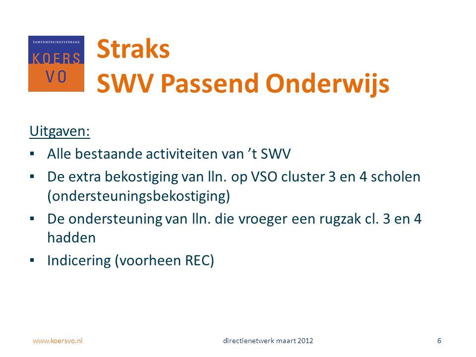 Uitgaven: ▪Alle bestaande activiteiten van 't SWV ▪De extra bekostiging van lln. op VSO cluster 3 en 4 scholen (ondersteuningsbekostiging) ▪De onderst