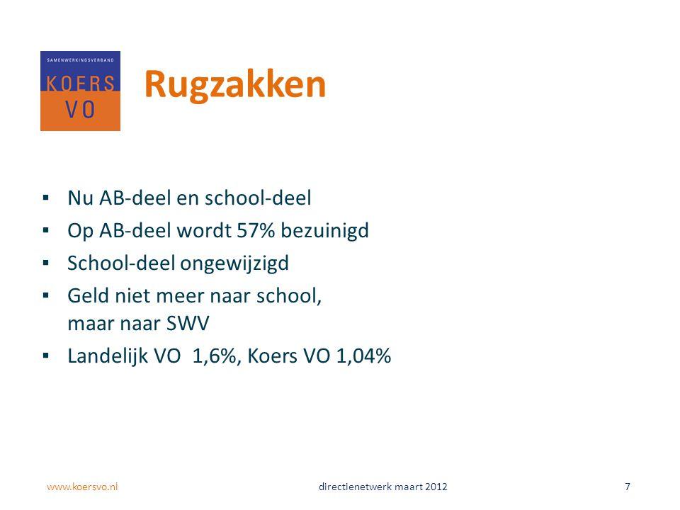 Rugzakken ▪Nu AB-deel en school-deel ▪Op AB-deel wordt 57% bezuinigd ▪School-deel ongewijzigd ▪Geld niet meer naar school, maar naar SWV ▪Landelijk VO 1,6%, Koers VO 1,04% www.koersvo.nldirectienetwerk maart 2012 7