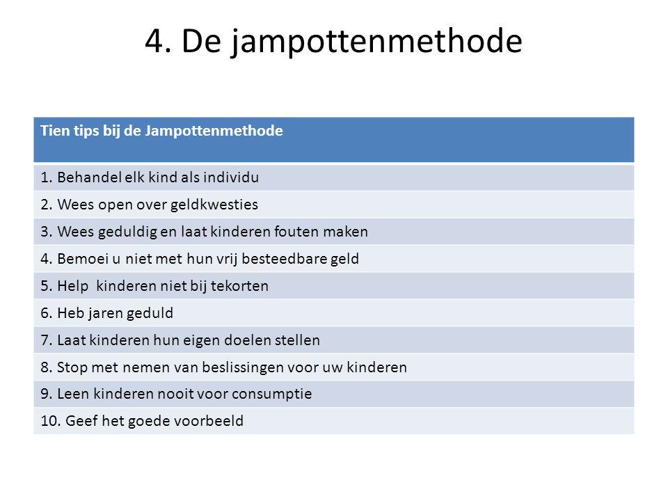4. De jampottenmethode Tien tips bij de Jampottenmethode 1. Behandel elk kind als individu 2. Wees open over geldkwesties 3. Wees geduldig en laat kin
