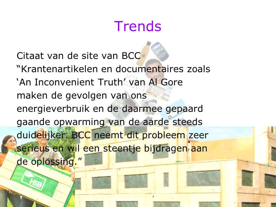 """Trends Citaat van de site van BCC """"Krantenartikelen en documentaires zoals 'An Inconvenient Truth' van Al Gore maken de gevolgen van ons energieverbru"""