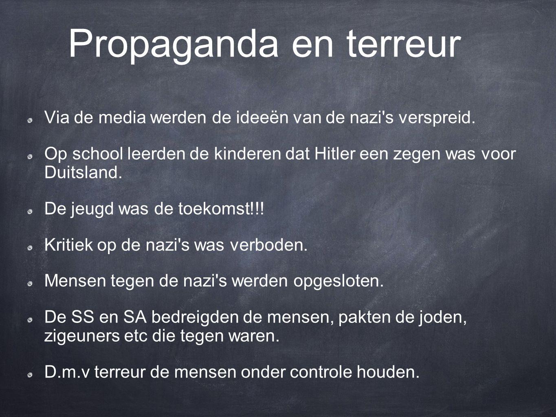 Propaganda en terreur Via de media werden de ideeën van de nazi s verspreid.
